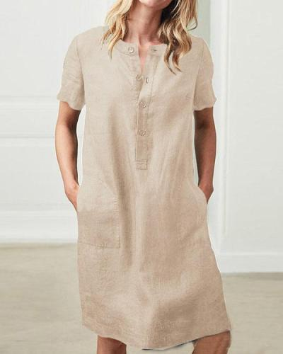 Short Sleeve Button Linen Dresses