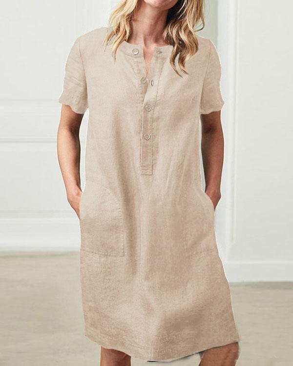Short Sleeve Button Linen Dresses