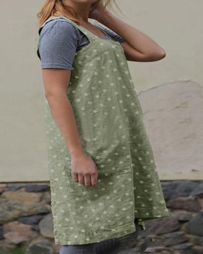 Dot Print Double Pockets Apron Linen Dress
