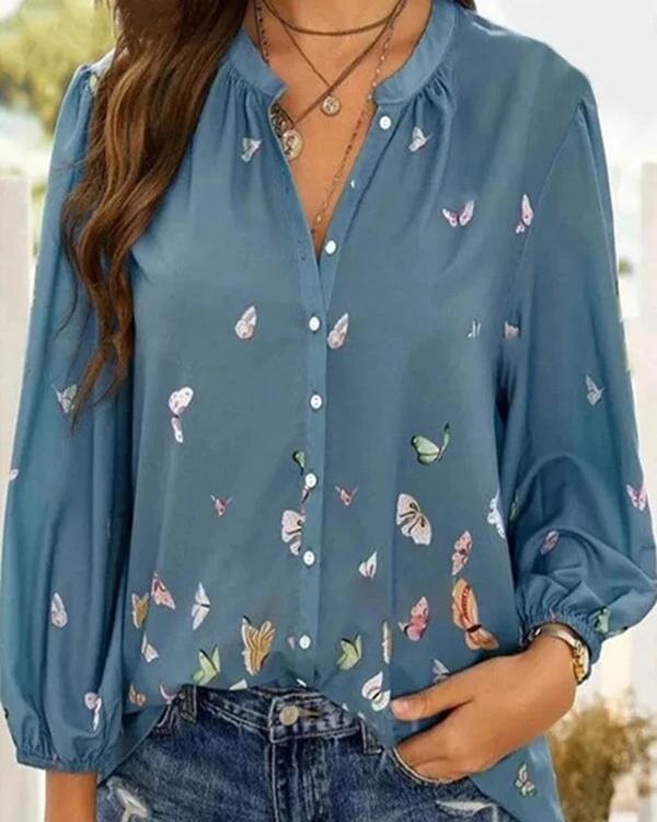 Casual Women Print Long Sleeve Blouses