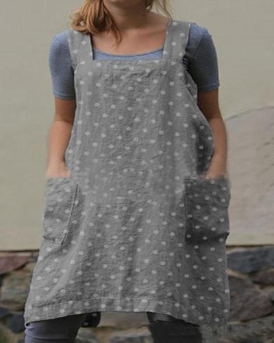 Dot Print Double Pockets Apron Linen Dress