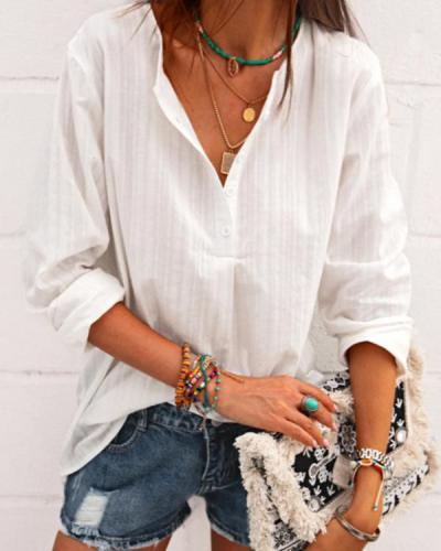 Casual Women Long Sleeve Linen Blouses