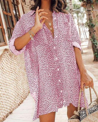 Leopard Long Sleeves Print Mini Blouse Dresses