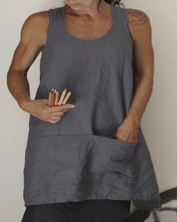 Solid Pockets Apron Linen Cross Back Dress