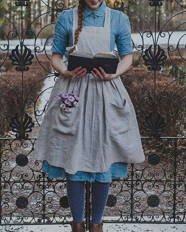 Vintage Cottage Home Garden Double Pockets Apron Dress