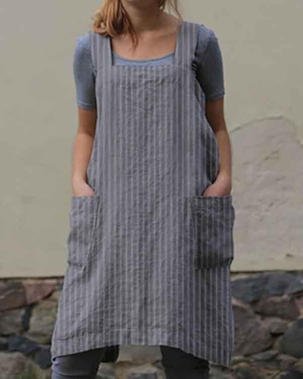 Stripe Print Double Pockets Apron Linen Dress