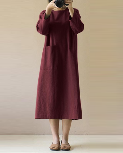 Women Long Sleeve Solid Loose Plus Size Casual Linen Dresses