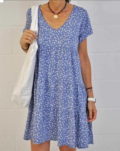 Casual Floral Ruffle Dress