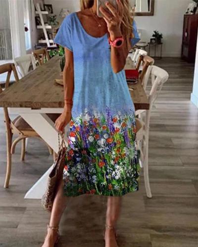 New Women Chic Vintage Boho Holiday Short Sleeve Floral Dresses