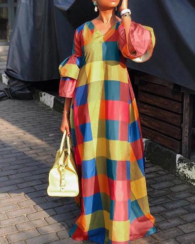 Colorful Lantern Sleeve Plaid Dress
