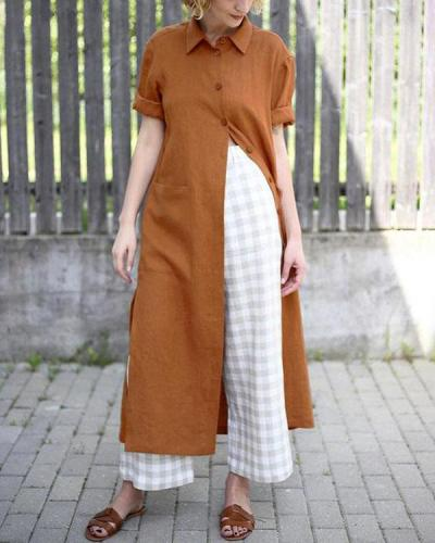 Vintage Style Lapel Collar Button Up Pocket Midi Length Shirt Dress