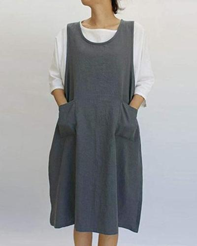 Vintage Apron Overall Pinafore Midi Dress With Pockets
