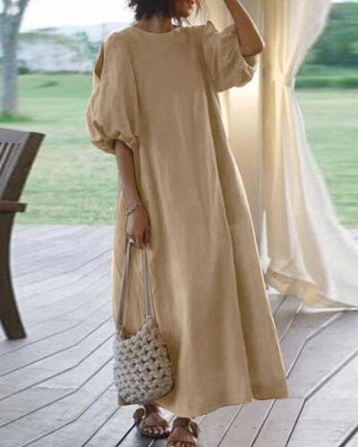 Women Half Sleeve Solid Loose Plus Size Casual Linen Dresses
