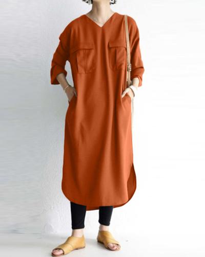 Women V-neck Solid Color Loose Plus Size Casual Dresses
