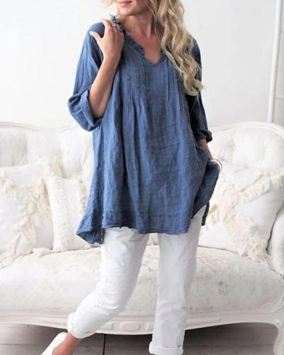 Women's Blouse V Neck Long Sleeve Pleats Pullover Roll Up Loose Tops