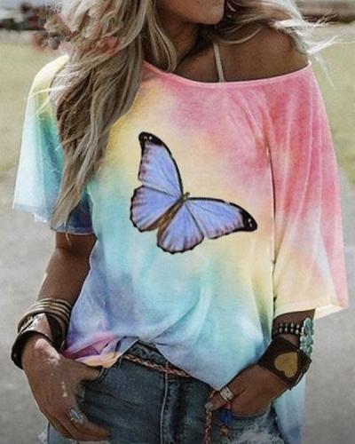 Women's t Shirt Butterfly Printed Summer Tops
