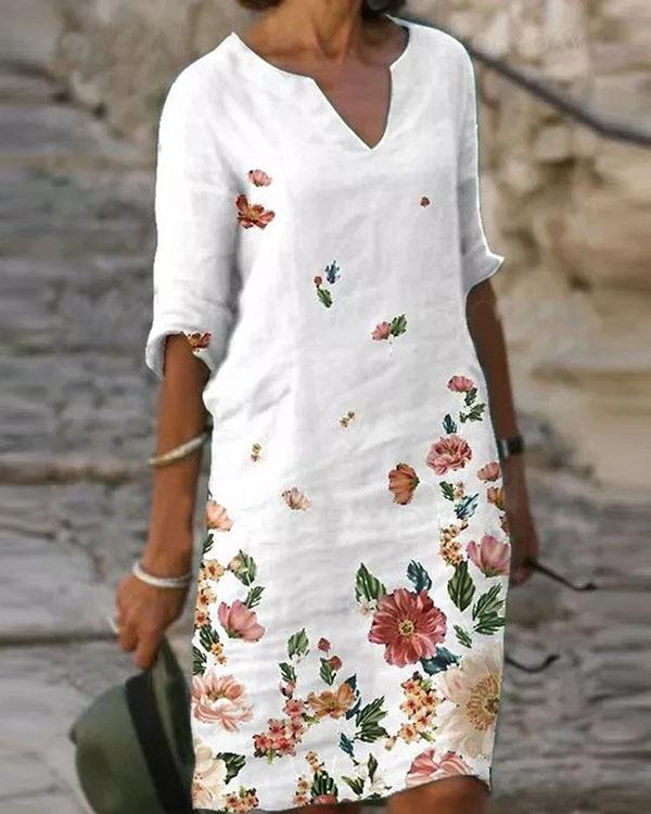 Casual Floral Shirt V-Neckline Shift Dress