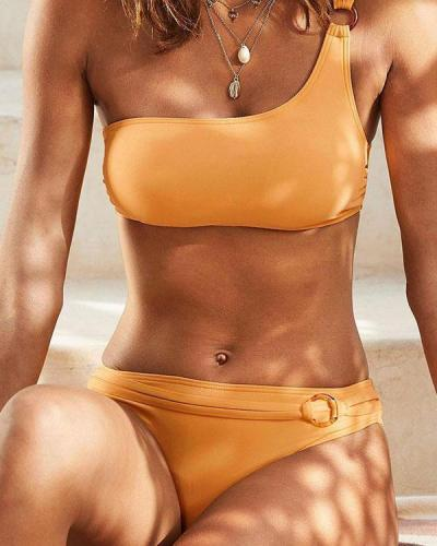 Solid Color Elegant One Shoulder Bikini