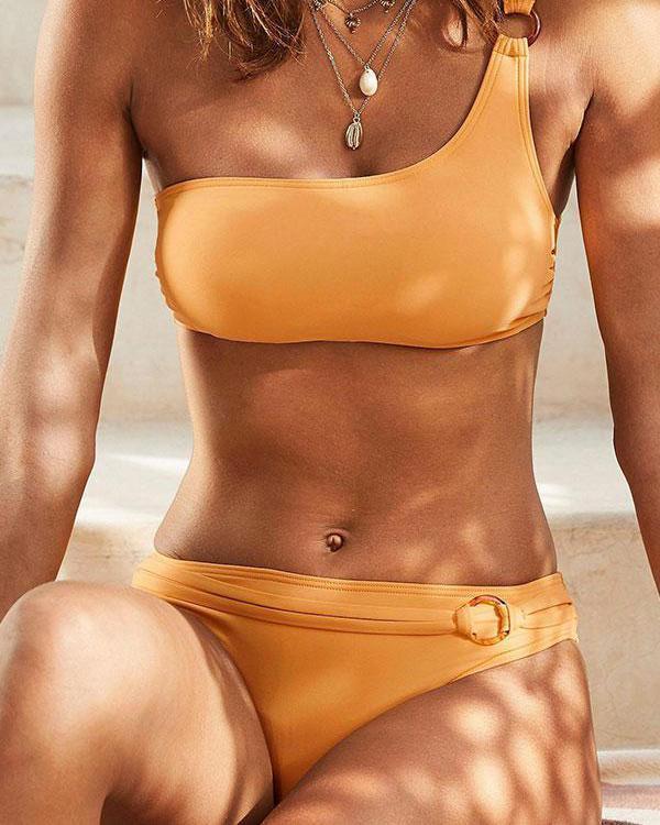 Solid Color Elegant One Shoulder Bikini