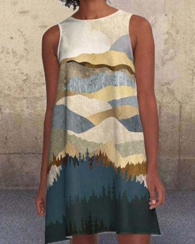 Landscape Print Sleeveless Mini Dress