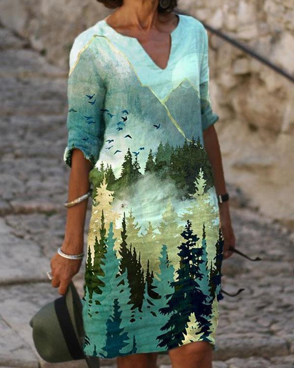 Casual Landscape V-Neckline Shift Dress
