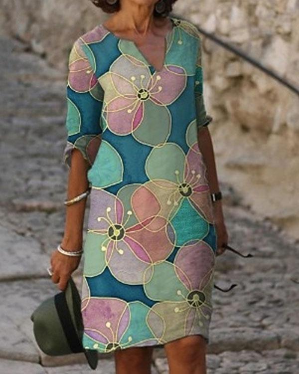 Women's Casual Print V-Neckline Half Sleeve Shift Dress