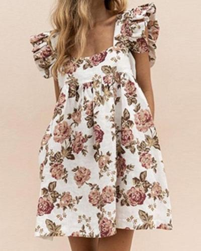 Cotton Square Neck Ruffle Sleeve Print Mini Dress