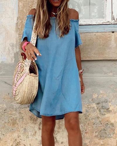 Cotton Ruffle Off Shoulder Denim Dress