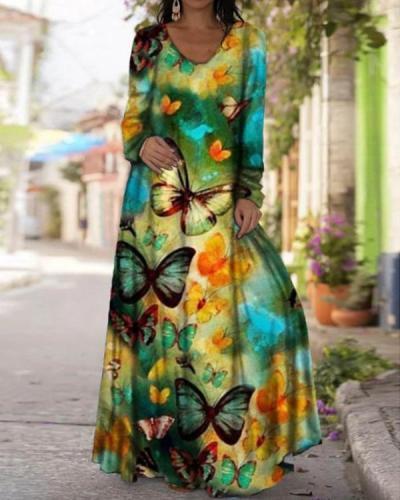 Women's Print Long Sleeve Maxi Dresses