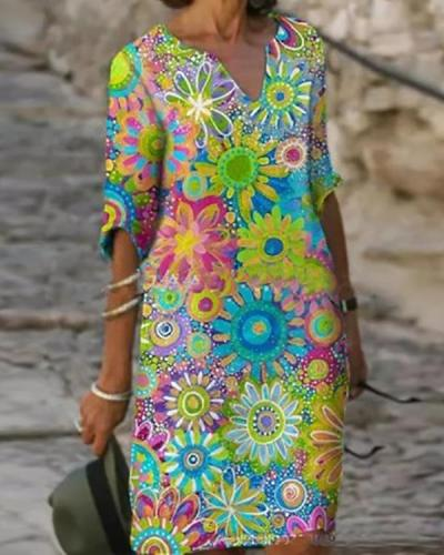Boho Floral V-Neckline Shift Dress