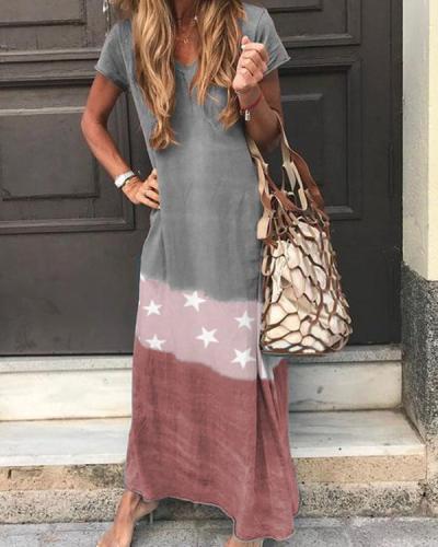 Short Sleeve V Neck Star Printed Maxi Dresses