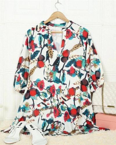 Floral V Neck Loose Dress
