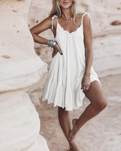 Solid Loose Hem Ruffle Beachside Dresses