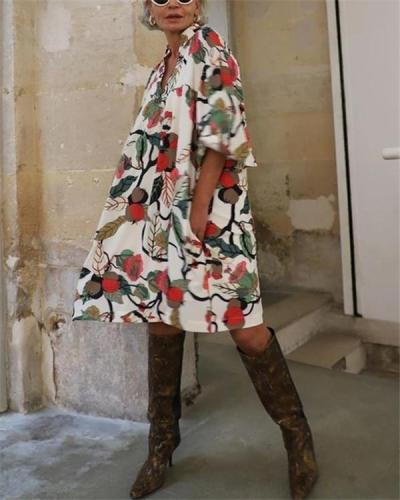 Floral V Neck Loose Dress