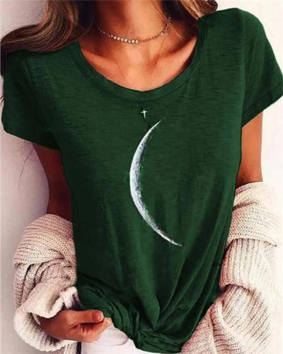 Moon Printed Club Daily Casual Short Sleeve Shift Shirts & Tops