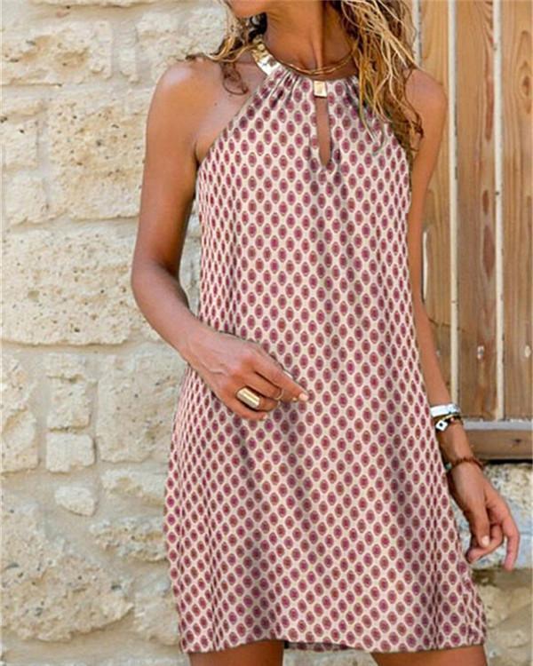 Sleeveless Shift Above Knee Casual Tank Dresses