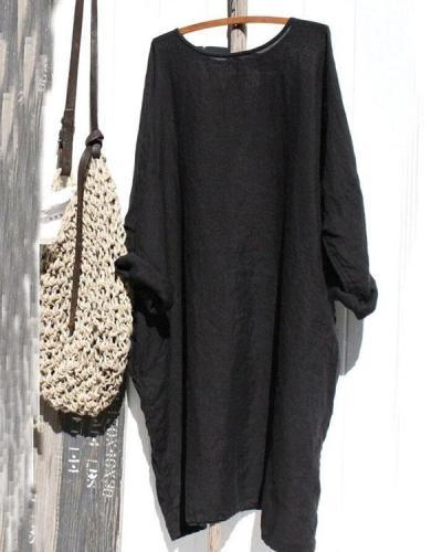 Women Solid Loose Fit Linen Dresses