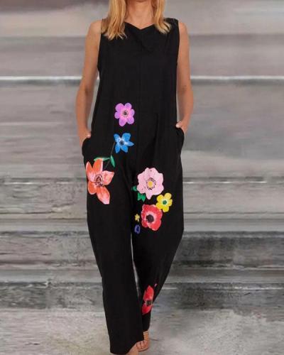 Women Stylish Floral Print Sleeveless Jumpsuit