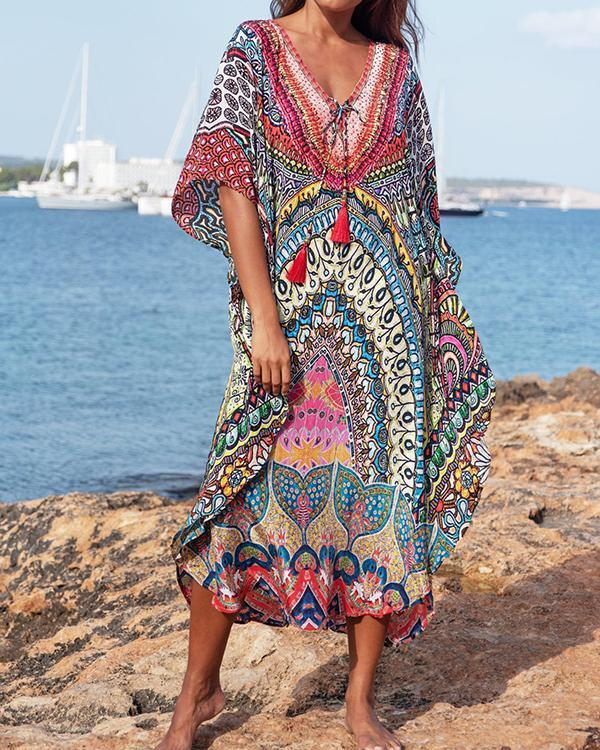 Printed Sleeved Tie Front V Neck Maxi Cover Up