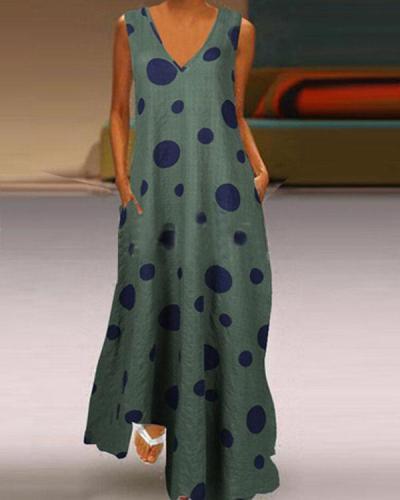Women's Casual Dot Print Sleeveless Summer Maxi Dress