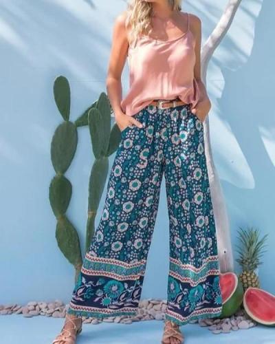 Women's  Spring Summer Print Casual Wide-legged Pants