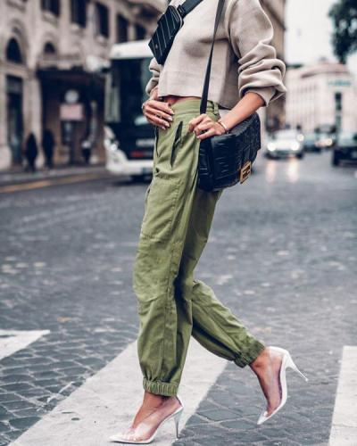 Solid Shirred Casual Solid Lounge Pants
