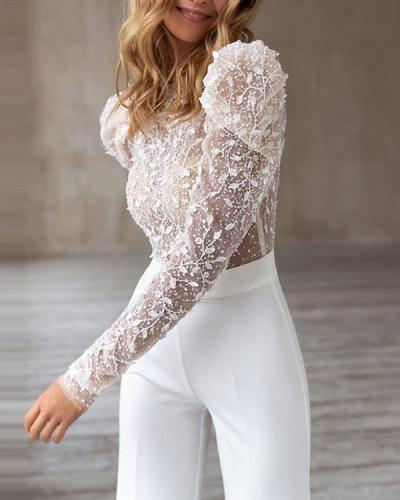 Sexy Round Neck Long Sleeve Sequins Jumpsuit