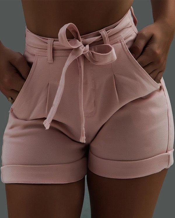 Sexy Daily Denim Solid Waistband Shorts
