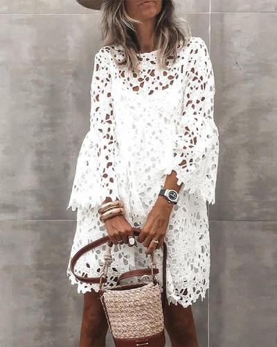 Women's Sheath Dress Long Sleeve Solid Color Lace Hollow Dress