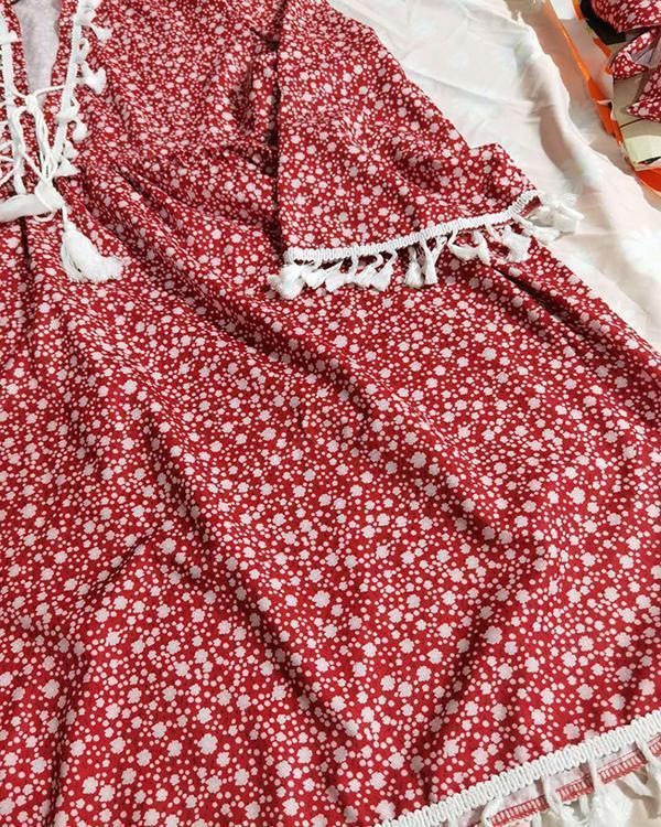 Floral Printed Casual Tassel  V Neck Dresses