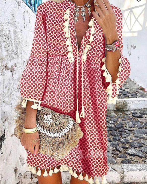 Women Printed Casual Tassel  V Neck Dresses