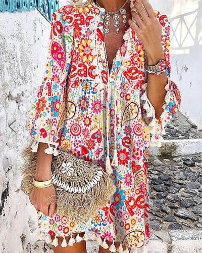 Floral Printed Casual Tassel  V Neck Dress Vacaton Dress