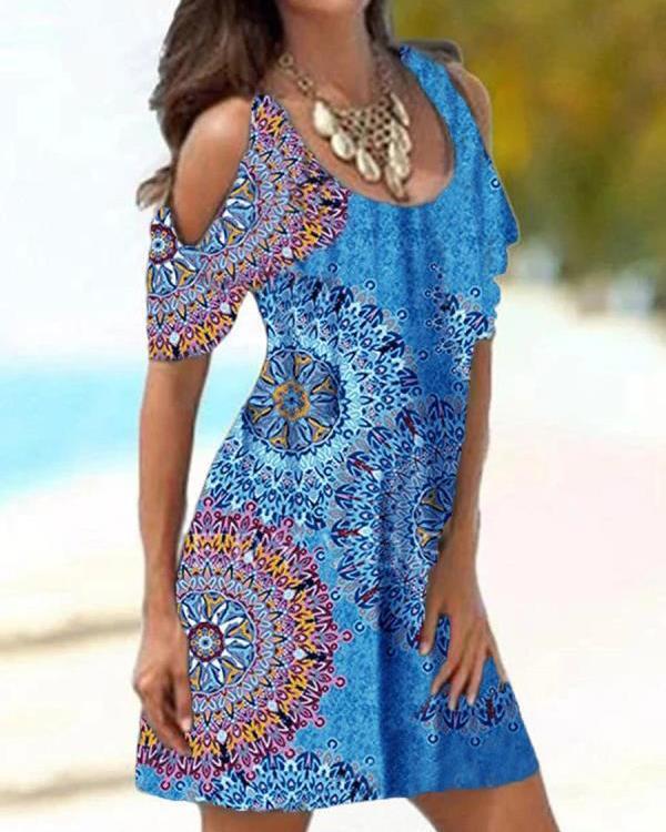 Print Cold Shoulder Slim Dress