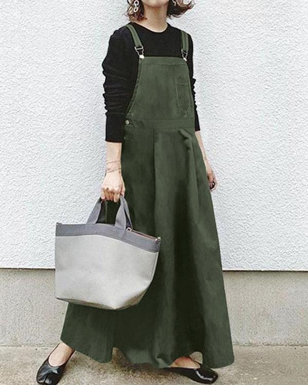 Plus Size Women's Casual Solid Overall Dress